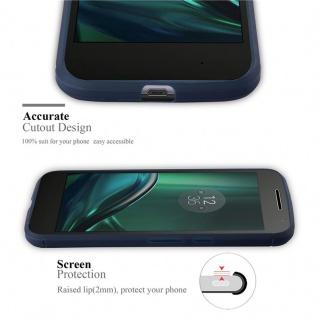 Cadorabo Hülle für Motorola MOTO G4 / MOTO G4 PLUS - Hülle in BRUSHED BLAU ? Handyhülle aus TPU Silikon in Edelstahl-Karbonfaser Optik - Silikonhülle Schutzhülle Ultra Slim Soft Back Cover Case Bumper - Vorschau 2
