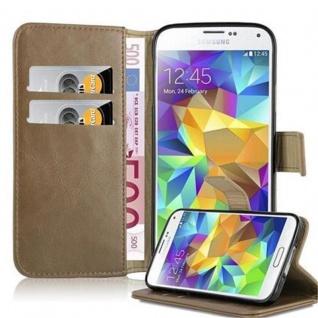 Cadorabo Hülle für Samsung Galaxy S5 / S5 NEO in CAPPUCCINO BRAUN ? Handyhülle mit Magnetverschluss, Standfunktion und Kartenfach ? Case Cover Schutzhülle Etui Tasche Book Klapp Style