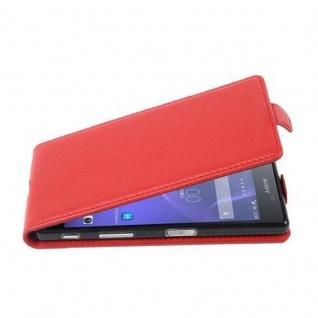 Cadorabo Hülle für Sony Xperia X in INFERNO ROT - Handyhülle im Flip Design aus strukturiertem Kunstleder - Case Cover Schutzhülle Etui Tasche Book Klapp Style
