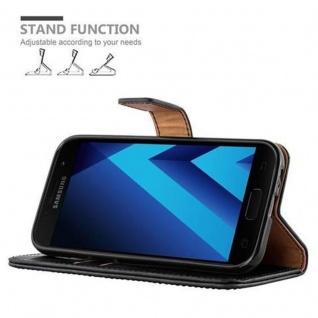 Cadorabo Hülle für Samsung Galaxy A3 2017 in GRAPHIT SCHWARZ ? Handyhülle mit Magnetverschluss, Standfunktion und Kartenfach ? Case Cover Schutzhülle Etui Tasche Book Klapp Style - Vorschau 5