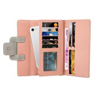 Cadorabo - Universal 2-in-1 Geldbeutel in Wildleder-Optik mit integriertem Smartphone Fach, 10 Kartenfächern, 2 Fächer für Geldscheine und Druckknopf-Schließe - Clutch Damenbörse Accessoire Damen Tasche Hülle Cover in PASTELL GRAU - Vorschau 3
