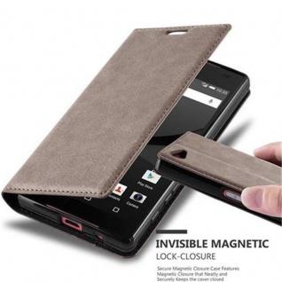 Cadorabo Hülle für Sony Xperia Z5 COMPACT in KAFFEE BRAUN - Handyhülle mit Magnetverschluss, Standfunktion und Kartenfach - Case Cover Schutzhülle Etui Tasche Book Klapp Style