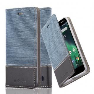Cadorabo Hülle für Nokia 2 2017 in DUNKEL BLAU SCHWARZ - Handyhülle mit Magnetverschluss, Standfunktion und Kartenfach - Case Cover Schutzhülle Etui Tasche Book Klapp Style