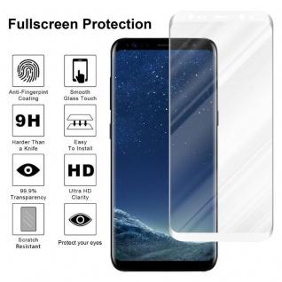 Cadorabo Vollbild Panzer Folie für Samsung Galaxy S8 - Schutzfolie in TRANSPARENT mit WEISS - Gehärtetes (Tempered) Display-Schutzglas in 9H Härte mit 3D Touch Kompatibilität - Vorschau 4