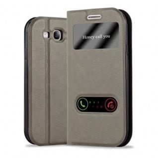 Cadorabo Hülle für Samsung Galaxy S3 / S3 NEO in STEIN BRAUN ? Handyhülle mit Magnetverschluss, Standfunktion und 2 Sichtfenstern ? Case Cover Schutzhülle Etui Tasche Book Klapp Style