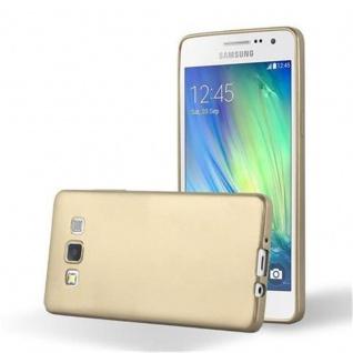Cadorabo Hülle für Samsung Galaxy A3 2015 in METALLIC GOLD - Handyhülle aus flexiblem TPU Silikon - Silikonhülle Schutzhülle Ultra Slim Soft Back Cover Case Bumper