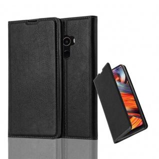 Cadorabo Hülle für Xiaomi Mi MIX 2 in NACHT SCHWARZ - Handyhülle mit Magnetverschluss, Standfunktion und Kartenfach - Case Cover Schutzhülle Etui Tasche Book Klapp Style