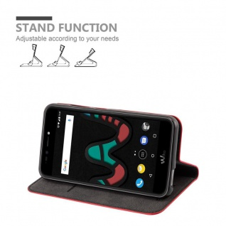 Cadorabo Hülle für WIKO UPULSE LITE in APFEL ROT Handyhülle mit Magnetverschluss, Standfunktion und Kartenfach Case Cover Schutzhülle Etui Tasche Book Klapp Style - Vorschau 3