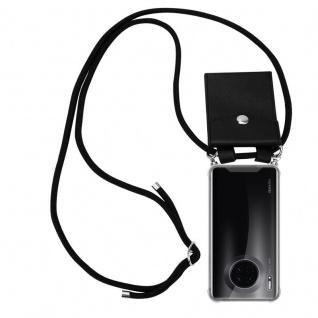 Cadorabo Handy Kette für Huawei MATE 30 in SCHWARZ Silikon Necklace Umhänge Hülle mit Silber Ringen, Kordel Band Schnur und abnehmbarem Etui Schutzhülle