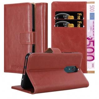 Cadorabo Hülle für WIKO VIEW XL in WEIN ROT Handyhülle mit Magnetverschluss, Standfunktion und Kartenfach Case Cover Schutzhülle Etui Tasche Book Klapp Style