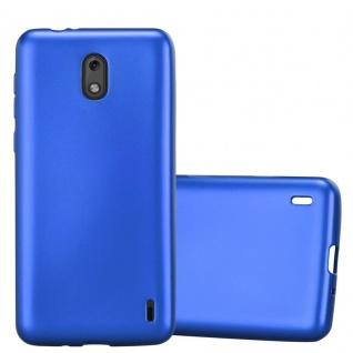 Cadorabo Hülle für Nokia 2 2017 in METALLIC BLAU - Handyhülle aus flexiblem TPU Silikon - Silikonhülle Schutzhülle Ultra Slim Soft Back Cover Case Bumper