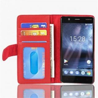Cadorabo Hülle für Nokia 3 2017 in INFERNO ROT Handyhülle mit Magnetverschluss und 3 Kartenfächern Case Cover Schutzhülle Etui Tasche Book Klapp Style