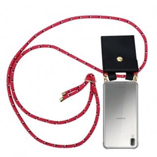 Cadorabo Handy Kette für Sony Xperia L3 in PINK SCHWARZ WEISS GEPUNKTET - Silikon Necklace Umhänge Hülle mit Gold Ringen, Kordel Band Schnur und abnehmbarem Etui ? Schutzhülle