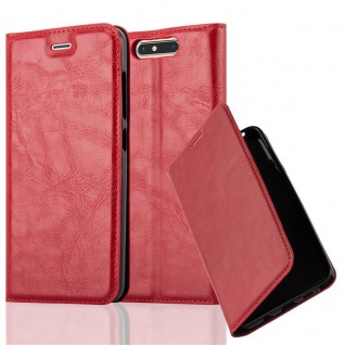 Cadorabo Hülle für ZTE BLADE V8 in APFEL ROT Handyhülle mit Magnetverschluss, Standfunktion und Kartenfach Case Cover Schutzhülle Etui Tasche Book Klapp Style