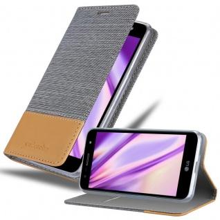 Cadorabo Hülle für LG X POWER 3 in HELL GRAU BRAUN - Handyhülle mit Magnetverschluss, Standfunktion und Kartenfach - Case Cover Schutzhülle Etui Tasche Book Klapp Style