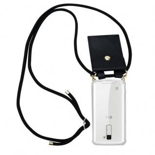 Cadorabo Handy Kette für LG K10 2016 in SCHWARZ Silikon Necklace Umhänge Hülle mit Gold Ringen, Kordel Band Schnur und abnehmbarem Etui Schutzhülle