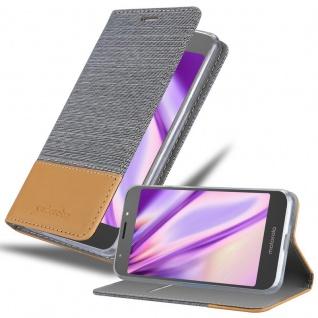 Cadorabo Hülle für Motorola MOTO E5 in HELL GRAU BRAUN - Handyhülle mit Magnetverschluss, Standfunktion und Kartenfach - Case Cover Schutzhülle Etui Tasche Book Klapp Style