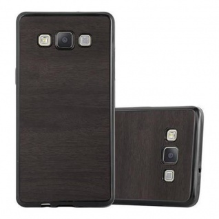 Cadorabo Hülle für Samsung Galaxy A5 2015 in WOODEN SCHWARZ - Handyhülle aus flexiblem TPU Silikon - Silikonhülle Schutzhülle Ultra Slim Soft Back Cover Case Bumper