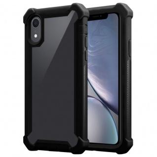 Cadorabo Hülle für Apple iPhone XR in ERLEN SCHWARZ 2-in-1 Handyhülle mit TPU Silikon-Rand und Acryl-Glas-Rücken Schutzhülle Hybrid Hardcase Back Case