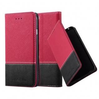 Cadorabo Hülle für Apple iPhone 6 / iPhone 6S in ROT SCHWARZ ? Handyhülle mit Magnetverschluss, Standfunktion und Kartenfach ? Case Cover Schutzhülle Etui Tasche Book Klapp Style
