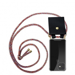Cadorabo Handy Kette für Apple iPhone 11 (XI) in COLORFUL PARROT - Silikon Necklace Umhänge Hülle mit Gold Ringen, Kordel Band Schnur und abnehmbarem Etui - Schutzhülle