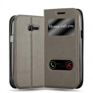 Cadorabo Hülle für Samsung Galaxy TREND LITE in STEIN BRAUN - Handyhülle mit Magnetverschluss, Standfunktion und 2 Sichtfenstern - Case Cover Schutzhülle Etui Tasche Book Klapp Style