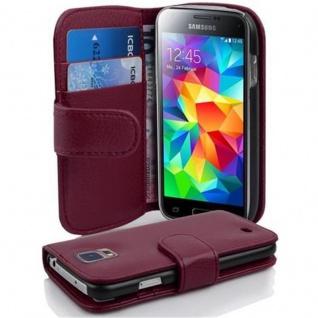 Cadorabo Hülle für Samsung Galaxy S5 MINI / S5 MINI DUOS in BORDEAUX LILA ? Handyhülle aus strukturiertem Kunstleder mit Standfunktion und Kartenfach ? Case Cover Schutzhülle Etui Tasche Book Klapp Style