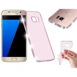 Cadorabo Hülle für Samsung Galaxy S7 - Hülle in TRANSPARENT ROSA ? Handyhülle aus TPU Silikon im Strass Design - Silikonhülle Schutzhülle Ultra Slim Soft Back Cover Case Bumper