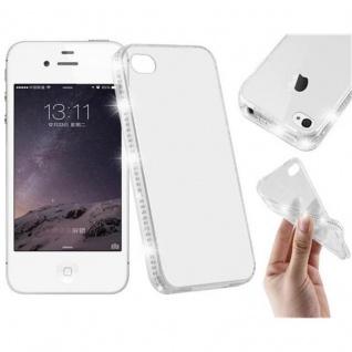 Cadorabo Hülle für Apple iPhone 4 / iPhone 4S - Hülle in TRANSPARENT WEIß ? Handyhülle aus TPU Silikon im Strass Design - Silikonhülle Schutzhülle Ultra Slim Soft Back Cover Case Bumper