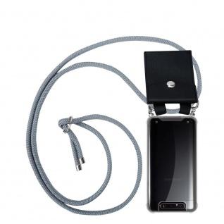 Cadorabo Handy Kette für Samsung Galaxy A80 / A90 in SILBER GRAU Silikon Necklace Umhänge Hülle mit Silber Ringen, Kordel Band Schnur und abnehmbarem Etui Schutzhülle