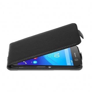 Cadorabo Hülle für Sony Xperia M5 in OXID SCHWARZ - Handyhülle im Flip Design aus strukturiertem Kunstleder - Case Cover Schutzhülle Etui Tasche Book Klapp Style