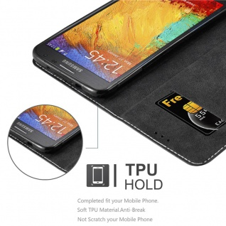 Cadorabo Hülle für Samsung Galaxy NOTE 3 NEO in SCHWARZ BRAUN ? Handyhülle mit Magnetverschluss, Standfunktion und Kartenfach ? Case Cover Schutzhülle Etui Tasche Book Klapp Style - Vorschau 2