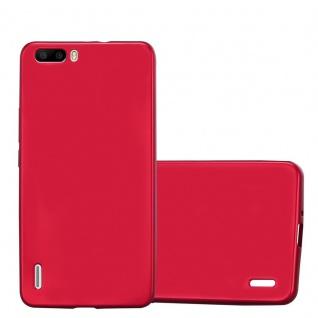 Cadorabo Hülle für Honor 6 PLUS in METALLIC ROT Handyhülle aus flexiblem TPU Silikon Silikonhülle Schutzhülle Ultra Slim Soft Back Cover Case Bumper