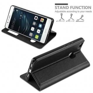 Cadorabo Hülle für Huawei P9 LITE in KOMETEN SCHWARZ ? Handyhülle mit Magnetverschluss, Standfunktion und 2 Sichtfenstern ? Case Cover Schutzhülle Etui Tasche Book Klapp Style - Vorschau 3