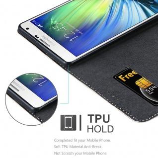 Cadorabo Hülle für Samsung Galaxy A7 2015 in ROSÉ GOLD SCHWARZ ? Handyhülle mit Magnetverschluss, Standfunktion und Kartenfach ? Case Cover Schutzhülle Etui Tasche Book Klapp Style - Vorschau 4