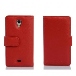 Cadorabo Hülle für Sony Xperia T in INFERNO ROT - Handyhülle aus strukturiertem Kunstleder mit Standfunktion und Kartenfach - Case Cover Schutzhülle Etui Tasche Book Klapp Style - Vorschau 2