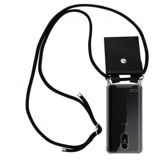 Cadorabo Handy Kette für LG K10 2017 in SCHWARZ Silikon Necklace Umhänge Hülle mit Silber Ringen, Kordel Band Schnur und abnehmbarem Etui Schutzhülle