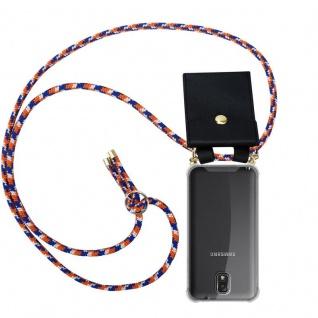 Cadorabo Handy Kette für Samsung Galaxy NOTE 3 in ORANGE BLAU WEISS - Silikon Necklace Umhänge Hülle mit Gold Ringen, Kordel Band Schnur und abnehmbarem Etui ? Schutzhülle