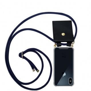 Cadorabo Handy Kette für Apple iPhone X / XS in TIEF BLAU - Silikon Necklace Umhänge Hülle mit Gold Ringen, Kordel Band Schnur und abnehmbarem Etui ? Schutzhülle
