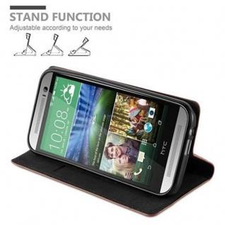 Cadorabo Hülle für HTC ONE M8 (2.Generation) in CAPPUCCINO BRAUN - Handyhülle mit Magnetverschluss, Standfunktion und Kartenfach - Case Cover Schutzhülle Etui Tasche Book Klapp Style - Vorschau 4