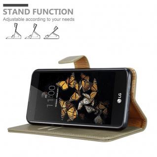 Cadorabo Hülle für LG K8 2016 in CAPPUCCINO BRAUN - Handyhülle mit Magnetverschluss, Standfunktion und Kartenfach - Case Cover Schutzhülle Etui Tasche Book Klapp Style - Vorschau 4