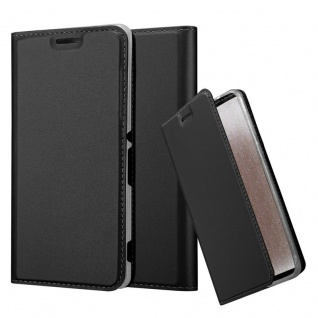Cadorabo Hülle für Sony Xperia M4 Aqua in CLASSY SCHWARZ - Handyhülle mit Magnetverschluss, Standfunktion und Kartenfach - Case Cover Schutzhülle Etui Tasche Book Klapp Style