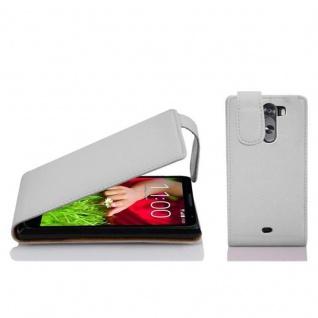 Cadorabo Hülle für LG G2 MINI - Hülle in MAGNESIUM WEIß ? Handyhülle aus strukturiertem Kunstleder im Flip Design - Case Cover Schutzhülle Etui Tasche