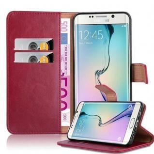 Cadorabo Hülle für Samsung Galaxy S6 EDGE PLUS in WEIN ROT ? Handyhülle mit Magnetverschluss, Standfunktion und Kartenfach ? Case Cover Schutzhülle Etui Tasche Book Klapp Style