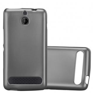 Cadorabo Hülle für Sony Xperia E1 in METALLIC GRAU - Handyhülle aus flexiblem TPU Silikon - Silikonhülle Schutzhülle Ultra Slim Soft Back Cover Case Bumper