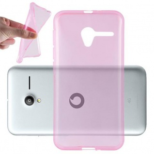 Cadorabo Hülle für Vodafone Smart SPEED 6 in TRANSPARENT PINK - Handyhülle aus flexiblem TPU Silikon - Silikonhülle Schutzhülle Ultra Slim Soft Back Cover Case Bumper