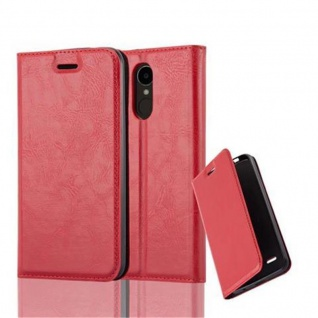 Cadorabo Hülle für LG K4 2017 in APFEL ROT Handyhülle mit Magnetverschluss, Standfunktion und Kartenfach Case Cover Schutzhülle Etui Tasche Book Klapp Style