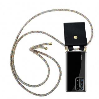Cadorabo Handy Kette für Huawei P40 Pro+ in RAINBOW Silikon Necklace Umhänge Hülle mit Gold Ringen, Kordel Band Schnur und abnehmbarem Etui Schutzhülle