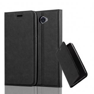 Cadorabo Hülle für Huawei Y7 2017 in NACHT SCHWARZ - Handyhülle mit Magnetverschluss, Standfunktion und Kartenfach - Case Cover Schutzhülle Etui Tasche Book Klapp Style
