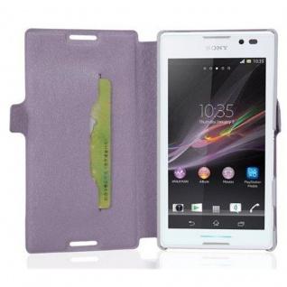Cadorabo Hülle für Sony Xperia C - Hülle in ICY FLIEDER ? Handyhülle mit Standfunktion und Kartenfach im Ultra Slim Design - Case Cover Schutzhülle Etui Tasche Book